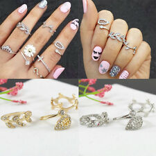 New Fashion 3PCS Women's Alloy Gold/Silver Rhinestone  Leaf  Knuckle Finger Ring