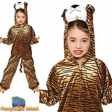 KIDS TIGER ONESIE ZOO WILD ANIMAL SAFARI PARK Ages 3-13 Boys Fancy Dress Costume
