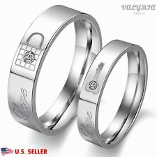 VALYRIA 316L Stainless Steel Silver Lover Couple Lock & Key Wedding Band Ring