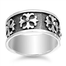 Silver Iron Cross Band Ring for Men, 925 Sterling, Thick High Quality, Black