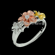 Hawaiian 3 Plumeria Flower Band Ring 8-10-8mm Tricolor 925 Sterling Silver Ring