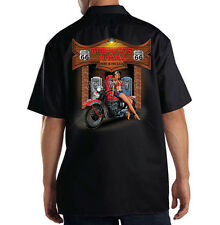 Dickies Black Mechanic Work Shirt Route 66 Americas Highway Biker Pin Up Girl