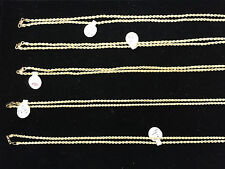 """2MM x 18"""" - 30"""" 10K Hollow Gold Rope Chains Necklace for Men's Women's Jewelry"""