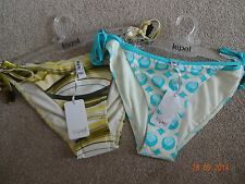 Lepel size 10 16 bikini bottoms green/blue multi tie sided SALE BNWT