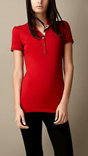 Burberry Brit Women CHECK PLACKET POLO SHIRT Color Red size S