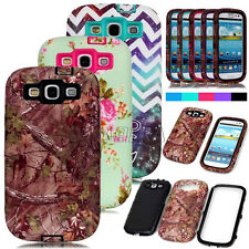 Rugged Pattern Printed Skin Hybrid Matte Combo Cases Cover For Samsung Galaxy S3