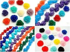 10mm 12mm 15mm Gorgeous Rose Flower Coral Resin Spacer Beads 10/20PCS