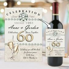 Personalised 60th Diamond Wedding Anniversary Wine Champagne Bottle Label N58