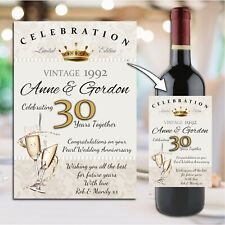 Personalised 30th Pearl Wedding Anniversary Wine Champagne Bottle Label N57