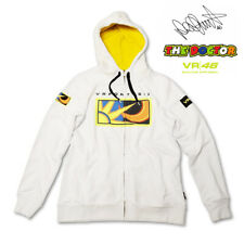 OFFICIAL MERCHANDISE VALENTINO ROSSI LADIES ZIP FLEECE HOODIE 46 WHITE