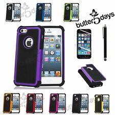 Hard Rugged Rubber Matte Case Cover w/ Screen Protector Pen Fit iPhone SE 5S 4S