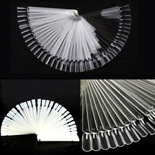 New 50 PCS False Nail Art Tips Stick Display Practice Fan Board Stand Tool Clear