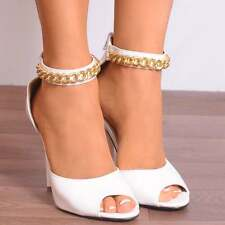 GOLD CHAIN ANKLE STRAP CUFF STRAPPY STILETTO HEEL SANDALS PEEP TOES HIGH HEELS