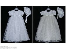 BABY GIRLS CHRISTENING GOWN & BONNET,DRESS,WHITE,IVORY,DIAMANTE & LACE,BAPTISM