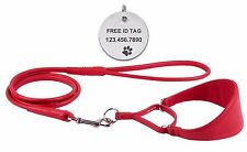 Red Martingale Whippet Collar Leash Set Greyhound Soft Padded Leather DOG ID TAG