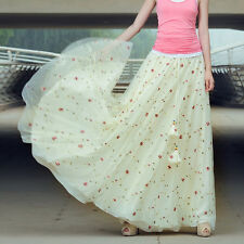 2015 Bohemian Sweet Fashion Chiffon Elegant Floral Long Maxi skirts for Womens