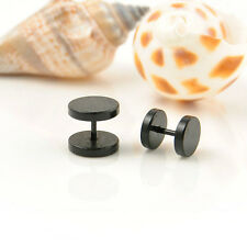 Perfect Round Barbell Stainless Steel Men's Earring Punk Gothic Ear Studs 4 Size