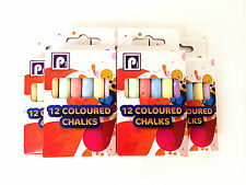 Pack of 12 CHALKS COLOURED PLAYGROUND BLACKBOARD CHALK School Kids Art Craft