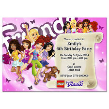 i054; Special Pink Personalised INVITATIONS for Girl, Daughter; Any age or text