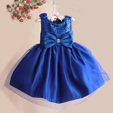 NEW GIRLS Baby Toddler Kid's Blue Sequins Pageant Party Wedding TUTU Dress
