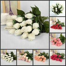 10 Head Real Latex Touch Rose Flowers Bouquet Bridal Wedding Flower Home Decor