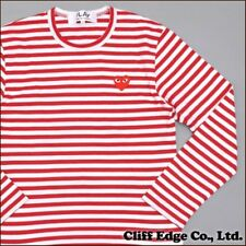 NEW 4 Sizes RED 2015 COMME DES GARCONS CDG PLAY STRIPED LONG SLEEVE RED T-SHIRT