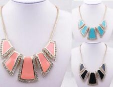 New Arrival Fashion Resin Beads Metal Pendant Bib Necklace Chain 3 Colors U Pick