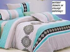 TWIN XL College Dorm AQUA GRAY BLACK MEDALLION SOFT COMFORTER BEDDING SET