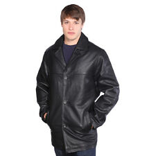 Mens Black Leather 3-Button Jacket