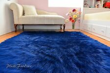 Navy Blue Shaggy Sheepskin Flokati Area Rug Baby Boy Throws Rugs Nursery Decors