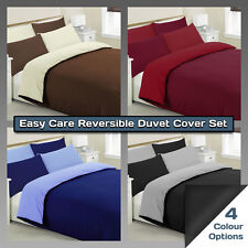 Reversible Duvet Cover Set with Pillowcases - Single Double King Size