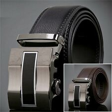 New Mens Black Fashion Alloy Automatic Buckle Genuine Leather Waist Strap Belts