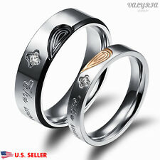 VALYRIA Stainless Steel Heart Lover Couple Band Wedding Engagement Ring Silver