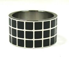 Men's Checkered Stainless Steel Ring Plus Size 11 - 15