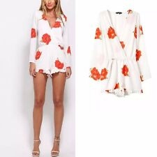 New Womens Ladies White Floral Print 3/4 Sleeve Celeb Chiffon Jumpsuits Rompers