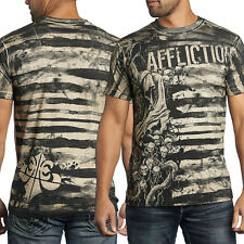 Affliction High & Mighty A11517 Grim Reaper Skulls Stripes Mens New T-Shirt Sand