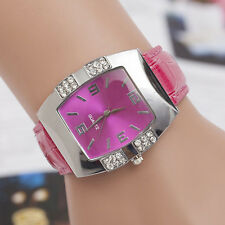Excellent Rhinestone Barrel Case Faux Leather Analog Quartz Casual Wrist Watch