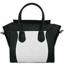 Women Designer Studded Leather Celebrity Smile Shoulder Tote Satchel Bag Handbag