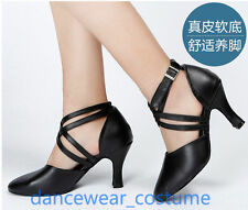 Ladies Women Genuine Leather Ballroom Latin Salsa Dance Shoes Tango Heels US5-9