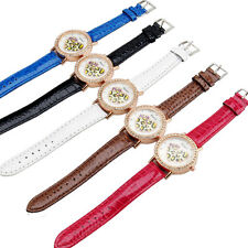 2015 Ladies Women Diamond Love Heart PU Leather Band Strap Quartz Wrist Watch