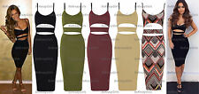 New Womens Ladies Celeb Cut Out Bodycon Bandage Midi Cami Party Evening Dress