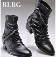 Mens Fashion high top casual punk rock pointed toe zipper short ankle boots NEW