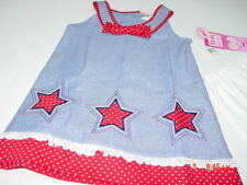 NWT Girls 2 piece set Young Hearts Patriotic Red White Blue Stars 4th of July