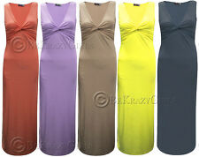 New Womens Ladies Knot Twist Front V Neck Sleeveless Party Evening Maxi Dress