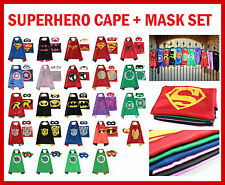 Kids Boys Girls Superhero Satin Cape Mask Costume Halloween Birthday Party Set