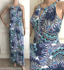 NEW EX F&F IVORY BLUE AQUA CORAL FLORAL LEAF STRETCH SUMMER MAXI DRESS 8 - 18