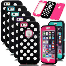 Polka Dots Armor Dual Layers Heavy Duty Matte Combo Case Cover For iPhone 6 Plus