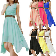 Women Pleated Dress Sleeveless Prom Evening Party Chiffon Summer Long Dress