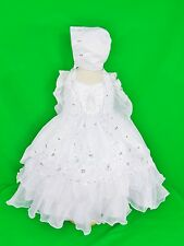 New Baby Girl 3pc Christening/Baptism Dress White Virgin Cape Bonnet Sizes 00-4