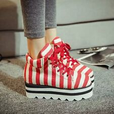 Korean Womens Pumps Zebra Stripe Wedge Inside Lace ups plimsoll High Top Shoes